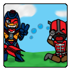Chibi Style: Man-E-Faces vs. Zodak by SlyVenom